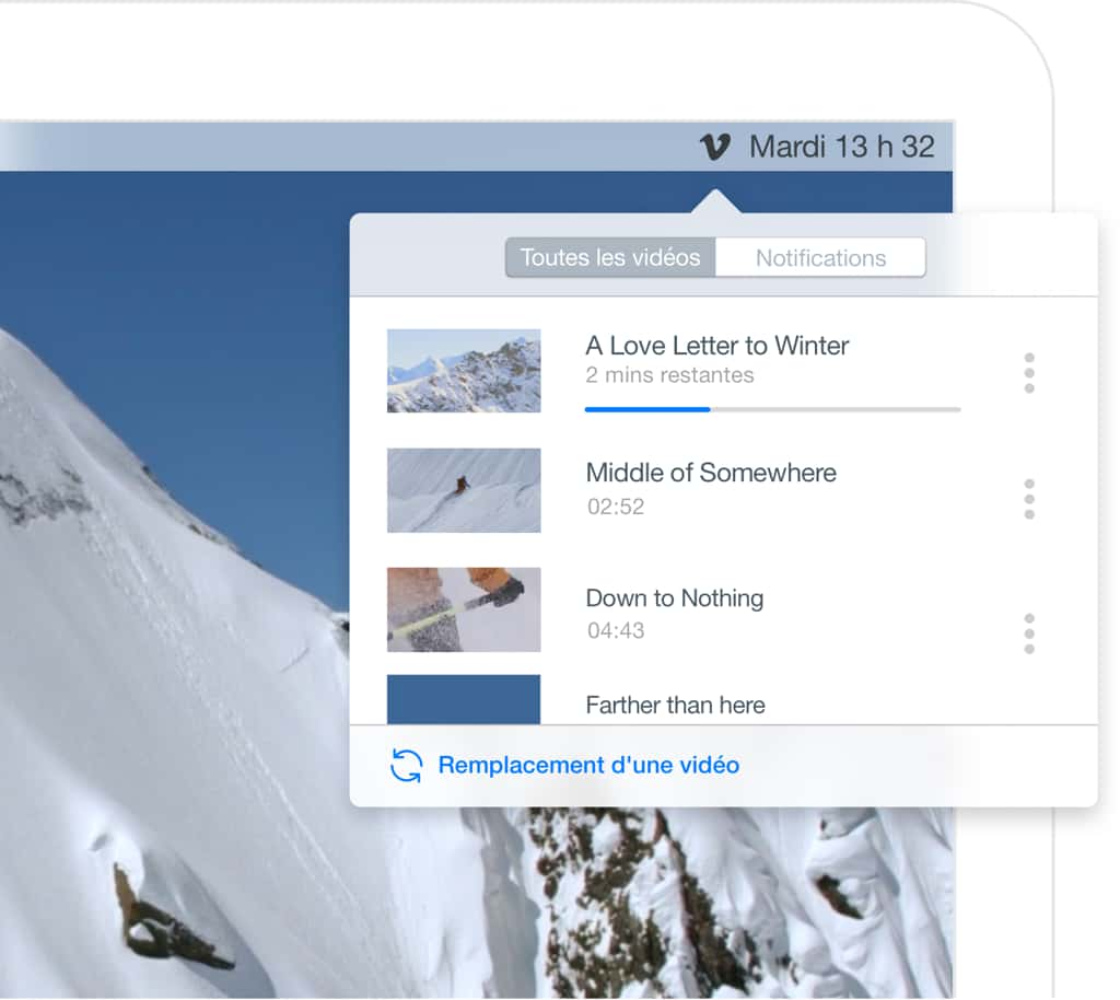 the Vimeo for macOS user interface for uploading or syncing videos files to Vimeo