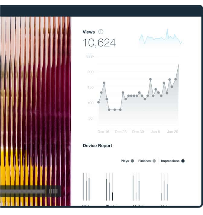 analytics dashboard of a video displaying a trendline of video plays