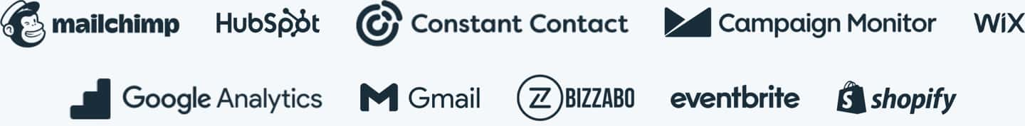 MailChimp, HubSpot, ConstantContact, Campaign Monitor, Wix, Google Analytics, Gmail, Bizzabo, Eventbrite, and Shopify logos