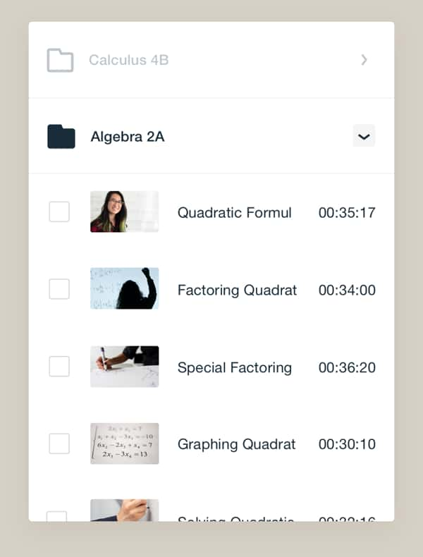标题和长度列出的代数2a视频存储接口示例