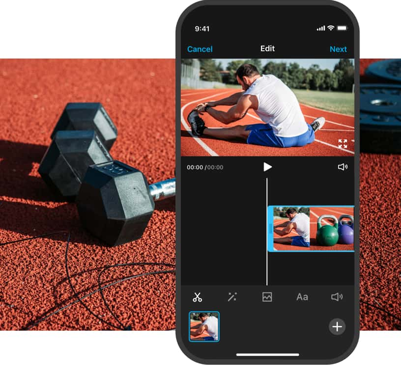 Mobile video editing example using the trim tool on man stretching video