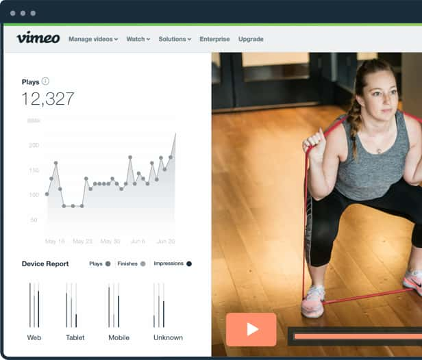 Video analytics interface and video frame of girl with workout bands