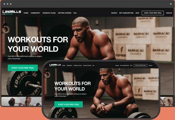 LesMills Fitness OTT app on desktop and mobile device