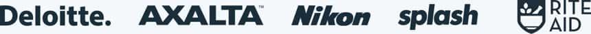 Deloitte, Axalta, Nikon, Splash和Nalco Water的标志