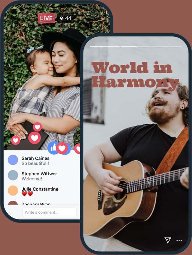 在Facebook上的移动布道现场,女人拥抱孩子,用户参与,在Instagram上,男人弹吉他