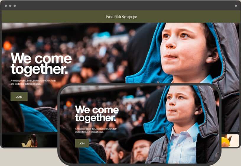 Faith OTT频道桌面和移动视图上犹太教堂的小男孩