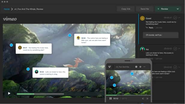 A Vimeo video reviewed with collaborative comments