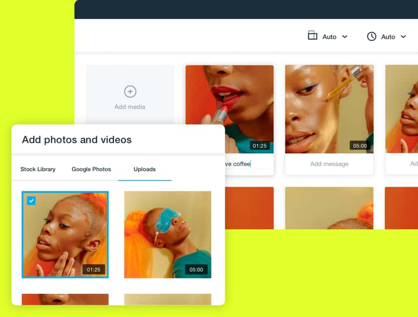 Images of video of woman applying lipstick, makeup, and skincare across several frames within the Vimeo Create user interface.