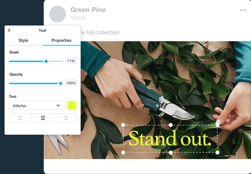 Social ad created using Vimeo Create. Holding a pair of garden shears trimming a plant. A module offers the action to modify text.