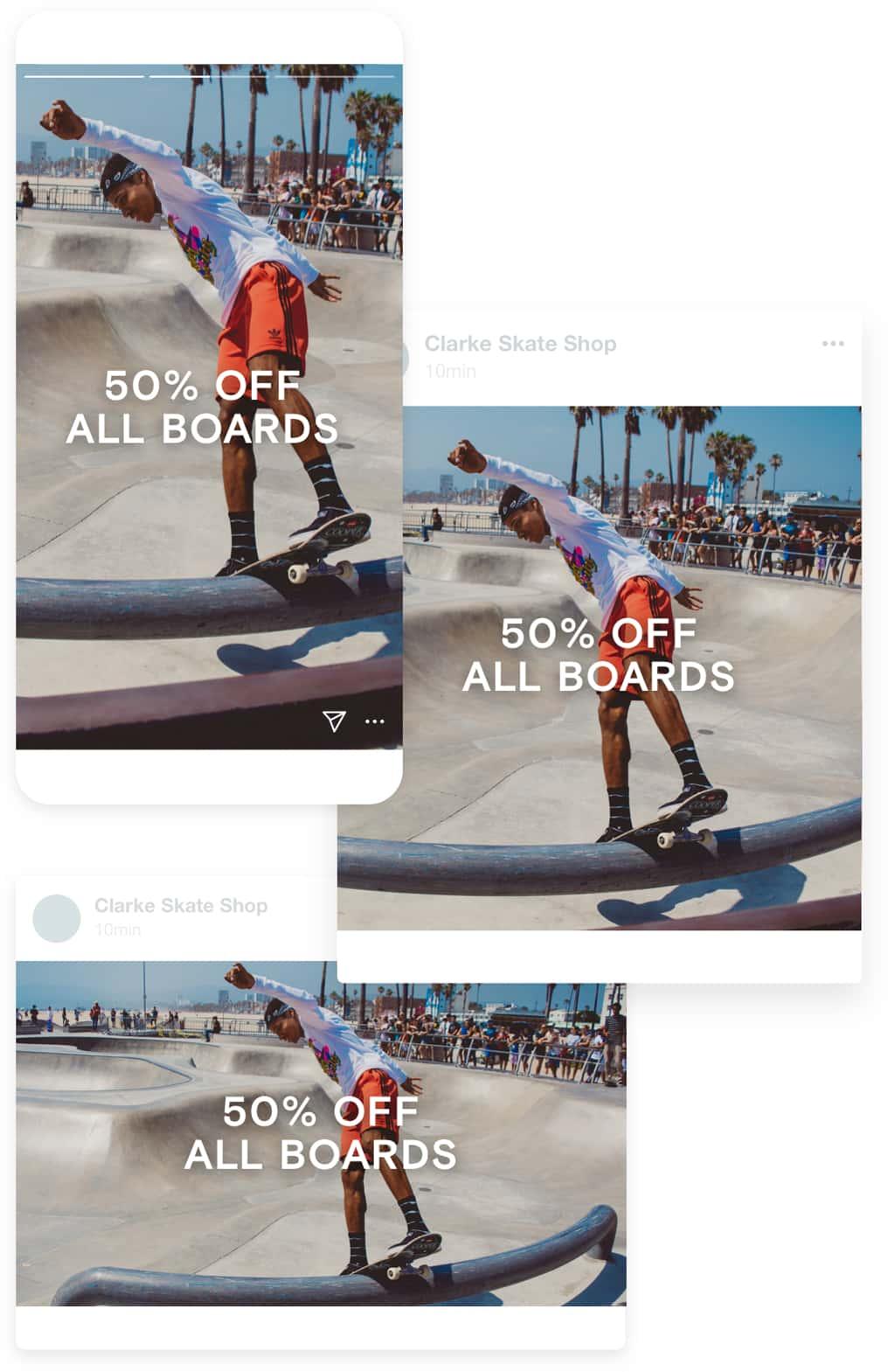 一组视频显示为社交媒体上的广告,包括Instagram Stories和Facebook帖子。