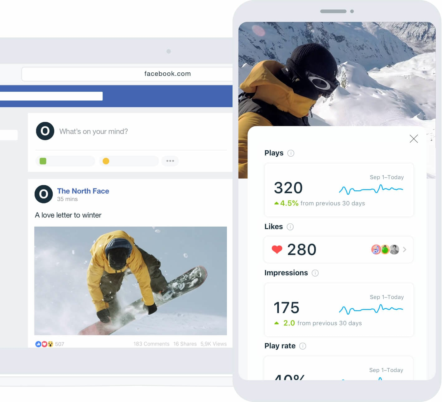 Mobile video analytics interface of The North Face Faceboook post example