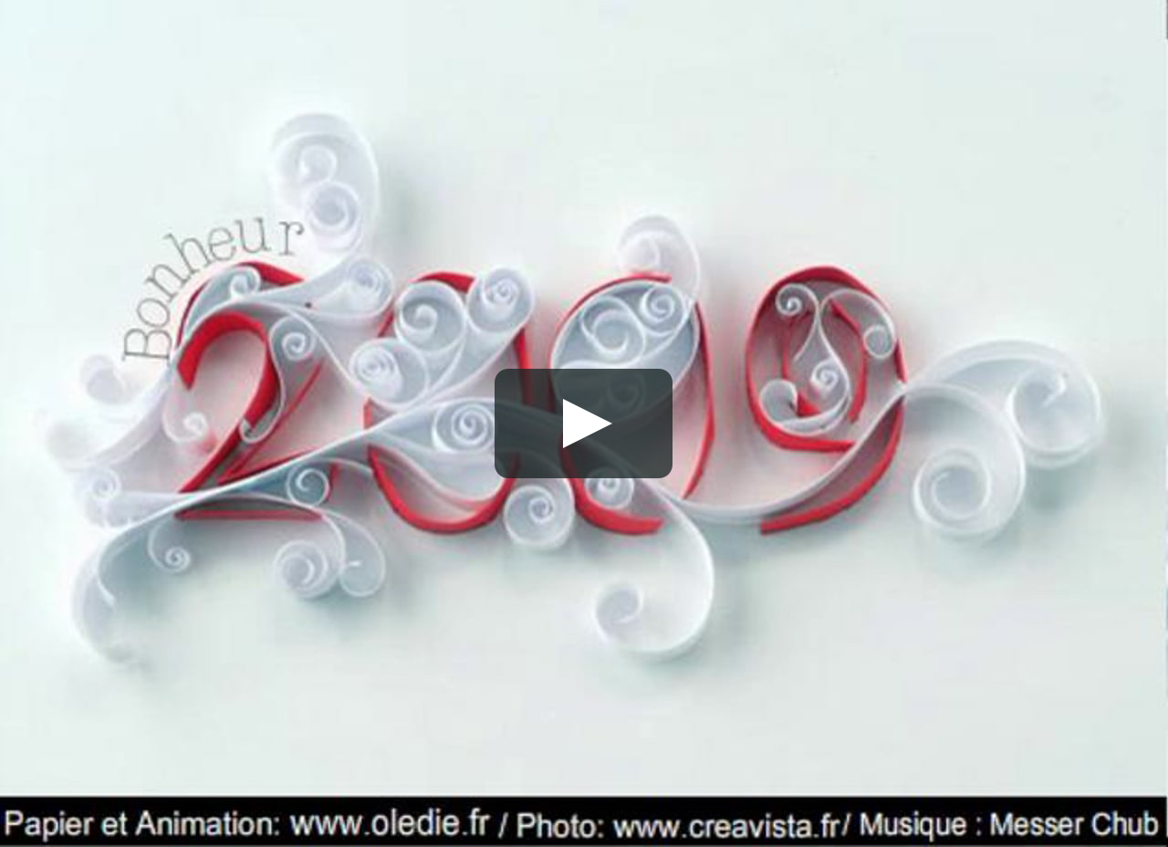 Papercraft 2009 greeting card Happy new year Animation flash carte de voeux Flash movie paper @oledie