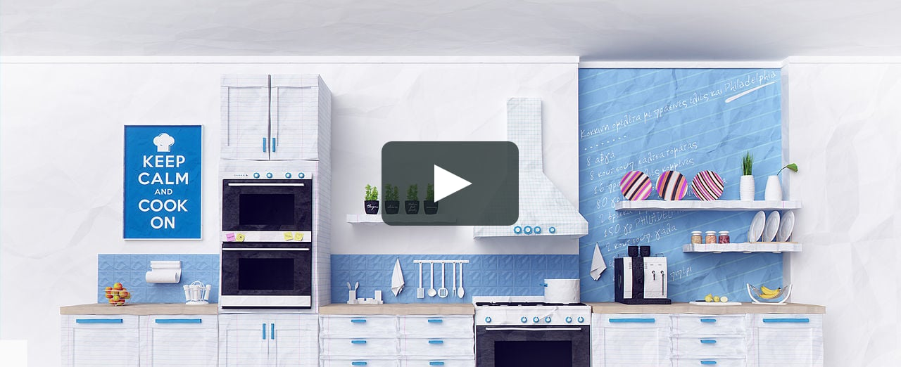 Papercraft 3D Paper-craft style kitchen | Intro