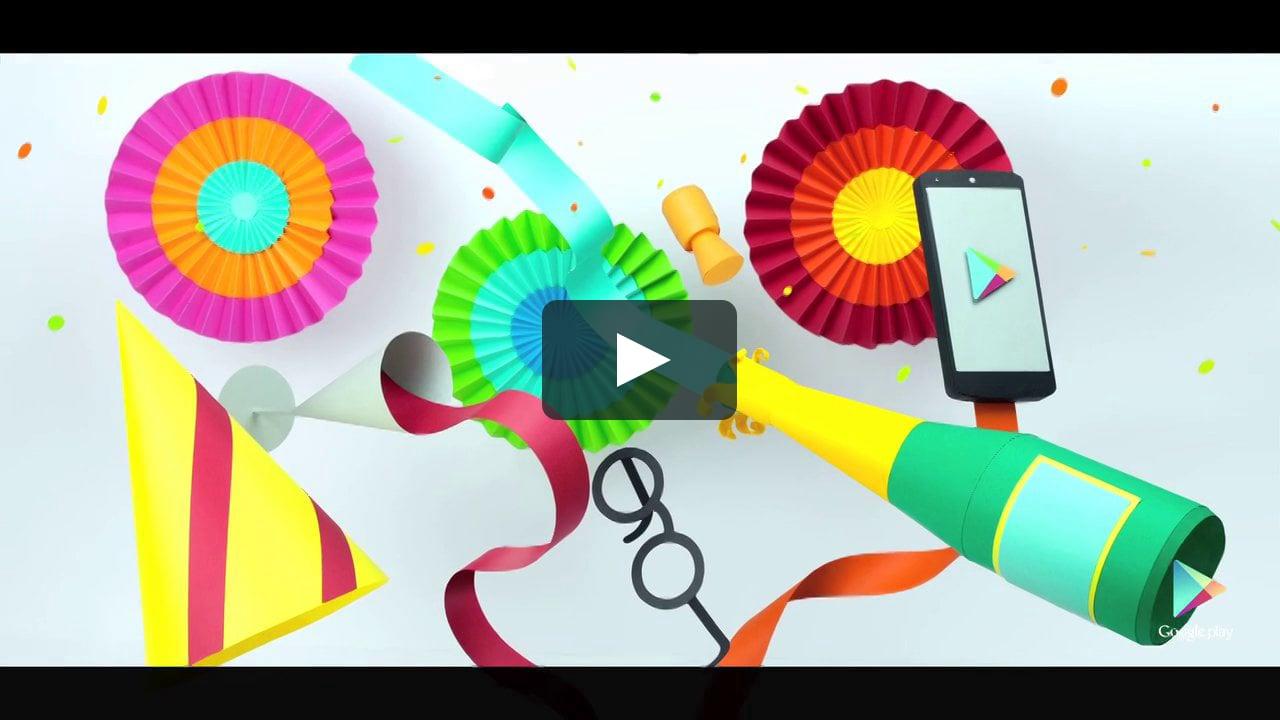 Papercraft Google Play New Years Promo