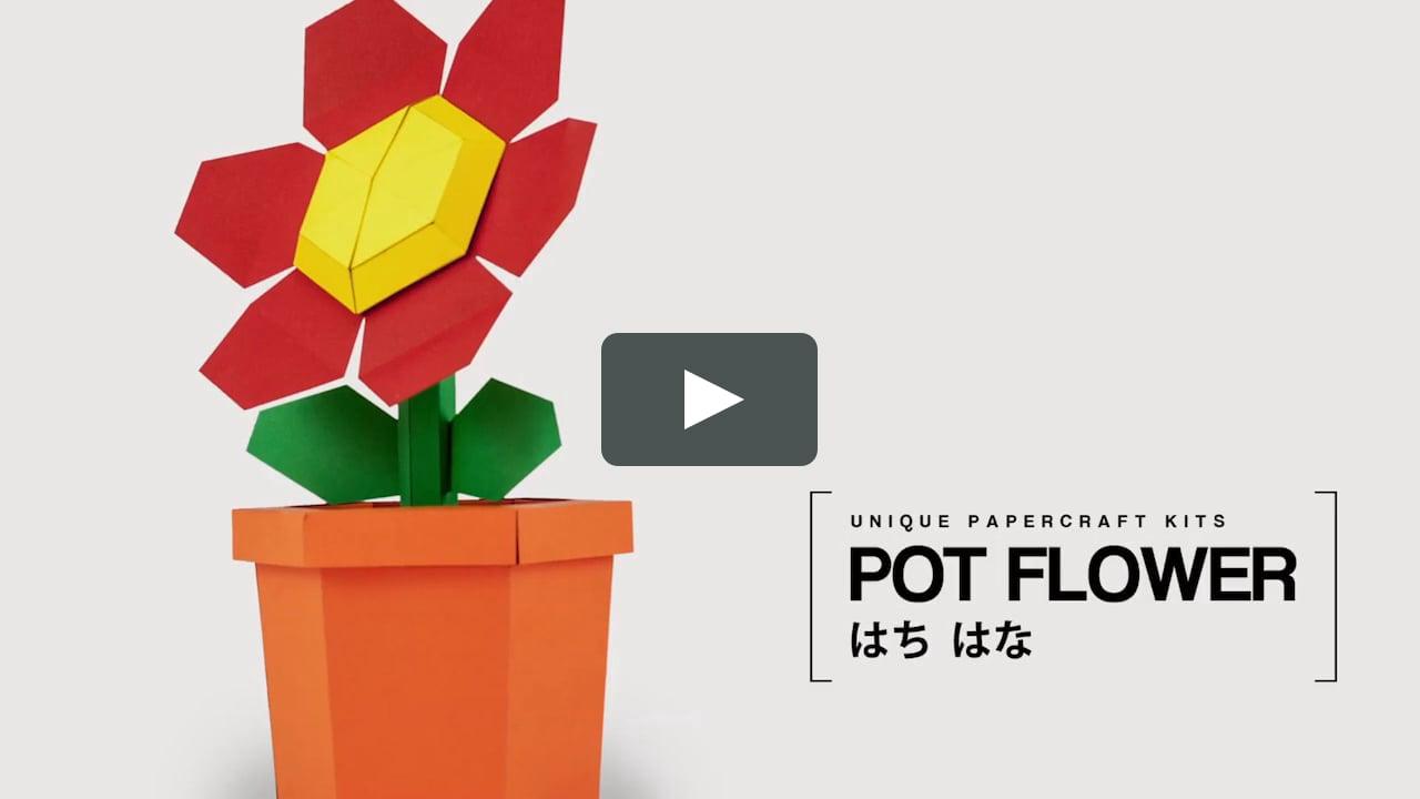 Papercraft Pot Flower Red - DIY Papercraft Kit (pre-cut)