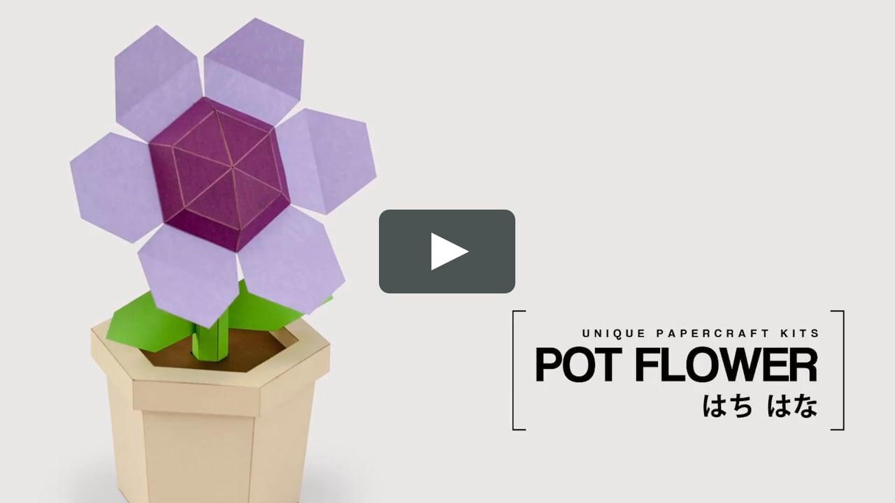 Papercraft Pot Flower Purple - DIY Papercraft Kit (pre-cut)