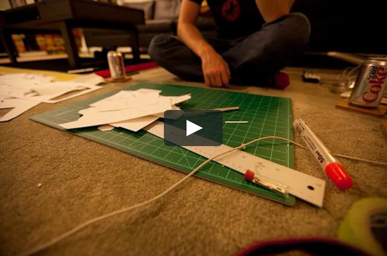 Papercraft time lapse helmet assembly