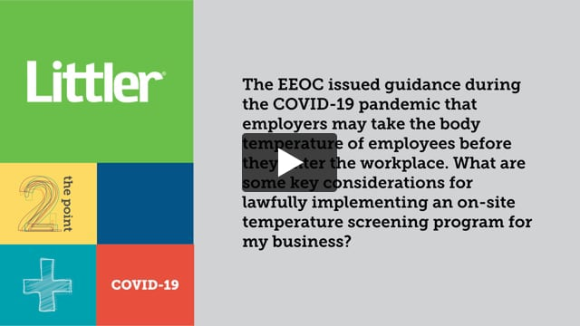 What are some key considerations for lawfully implementing an on-site temperature screening program for my business?