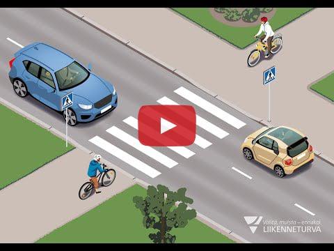 Animaatio: Tien ylitys pyöräilijänä