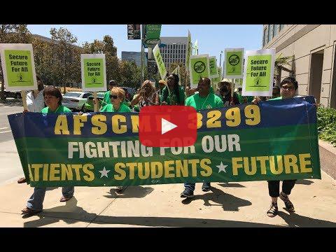 El personal de la Universidad de California se declaró tres días en huelga contra la austeridad y la privatización para respaldar a los trabajadores que suministran servicios