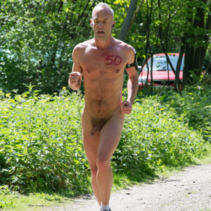 Naked male runners