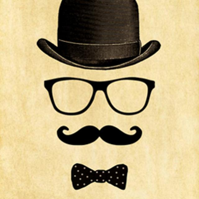 Открытка с усами и очками
