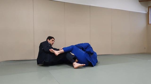 Passage de worm guard en utilisant le pied sur la ceinture