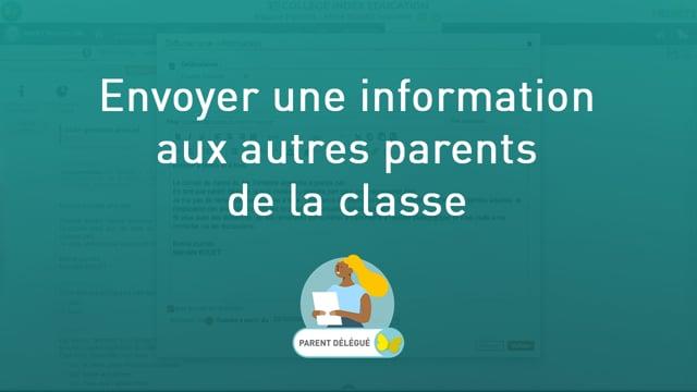Envoyer une information aux autres parents de la classe (quand on est parent délégué)