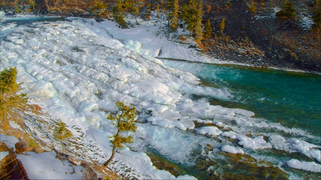 Winter Beauty of Bow Falls, Canada - 4K HDR