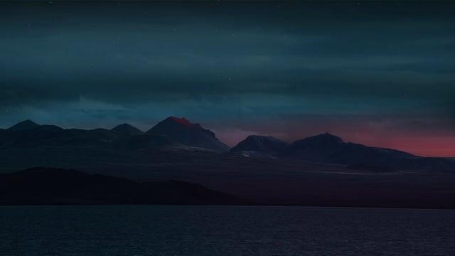 The Night Beauty of Icelandic Coastline. Nighttime Video. Part 4