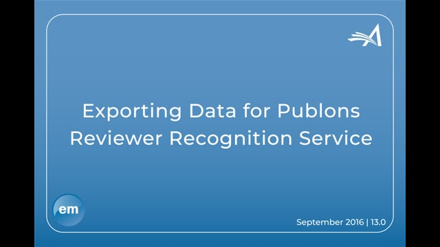 Exporting Data for Publons Reviewer Recognition Service