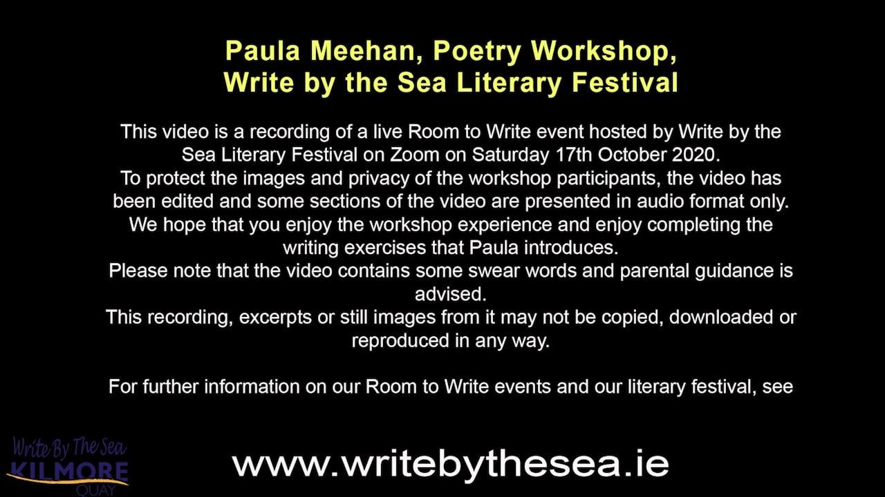 Paula Meehan Workshop 17 Oct 2020