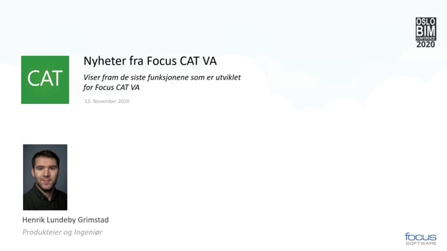 BIMCon 2020 – VA: Nyheter i Focus CAT VA