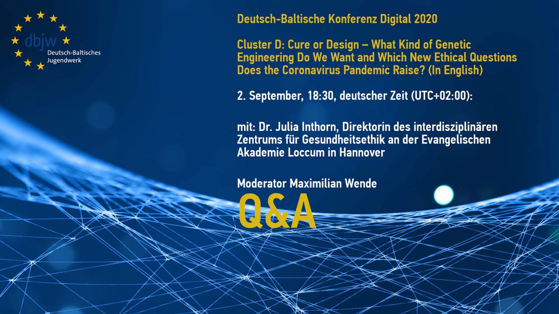 DBKDigital20 Keynote Cluster D – Question and Answer