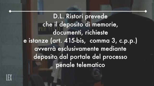 3/12/2020 - Le linee guida dell'Ordine su D.L .137 (c.d Decreto Ristori): le conseguenze sul processo penale e deposito degli atti