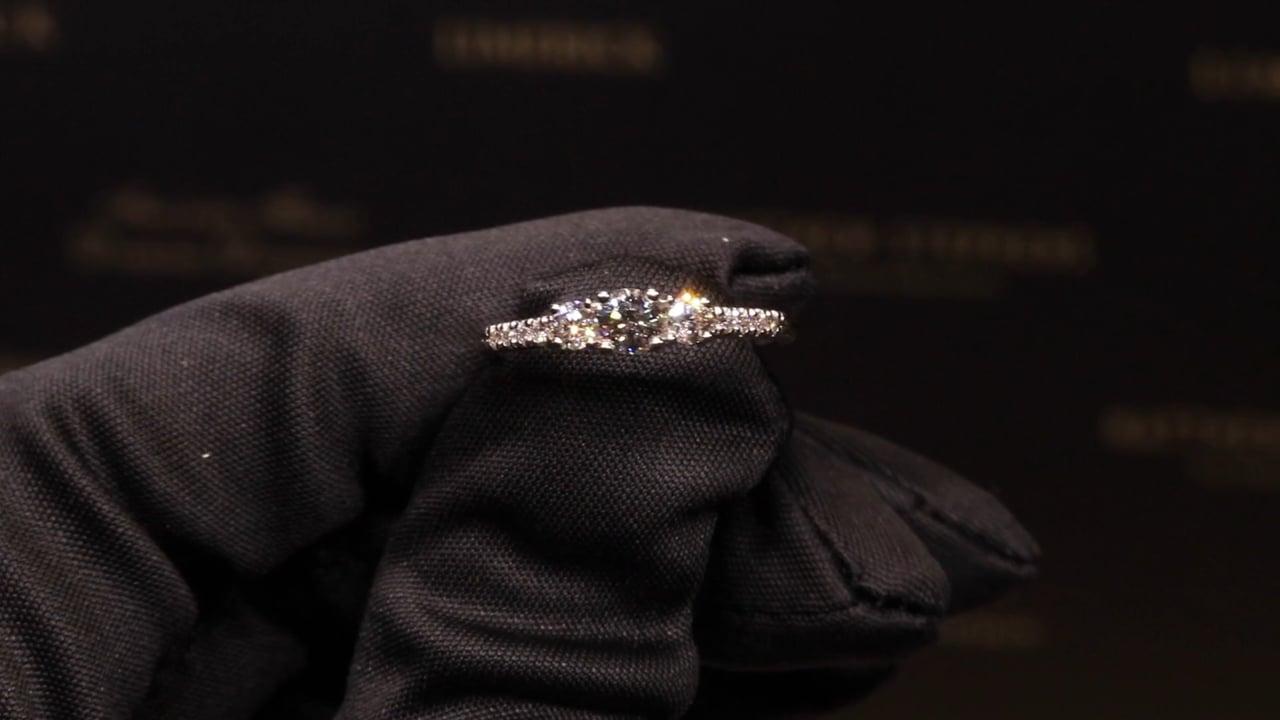 75143 - Three Stone Round Brilliant with Diamond Shoulders, T0.50ct, Set in Platinum