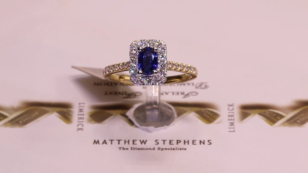 75153 - Oval Sapphire & Diamond Halo with Diamond Set Shoulders, S0.73ct, & D0.36ct, Set in 18ct Yellow Gold
