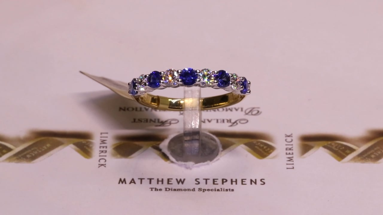 35995 - Round Brilliant Sapphire & Diamond Band, S0.60ct & D0.40ct, Set in 18ct Yellow Gold