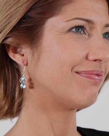 Video: Boucles d'oreille feuillage Nacre abalone naturelle sertie argent 925