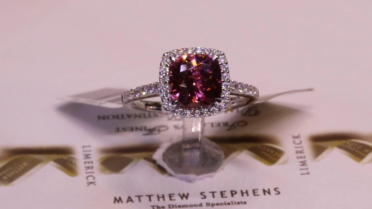 75228 - Cushion Cut Pink Tourmaline, Diamond Halo & Diamond Set Shoulders, PT2.14ct, D0.41ct, Set in 18ct White Gold