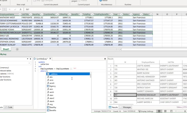 SQL queries in Excel