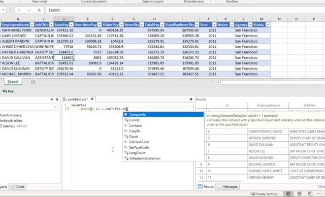 Linq queries in Excel