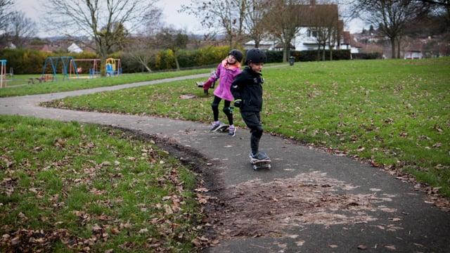 Elyssa and Reece go skateboarding