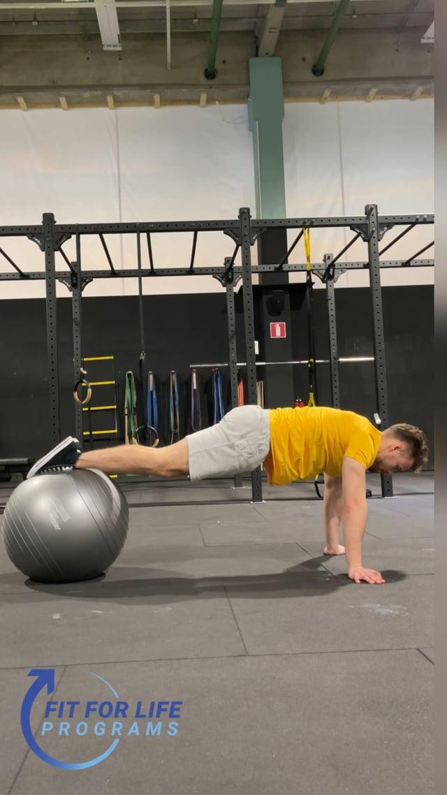 Push Up Plank Ball Crunch