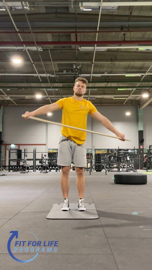Dynamic Stretching, stick twist