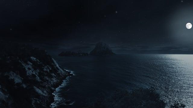 Magic Night - Ocean Cliffs - 4K Nature Sounds Relax Video