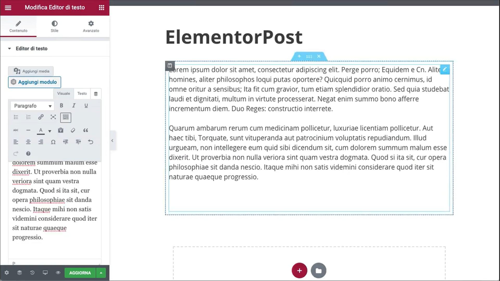 Esempio di creazione articolo con Elementor