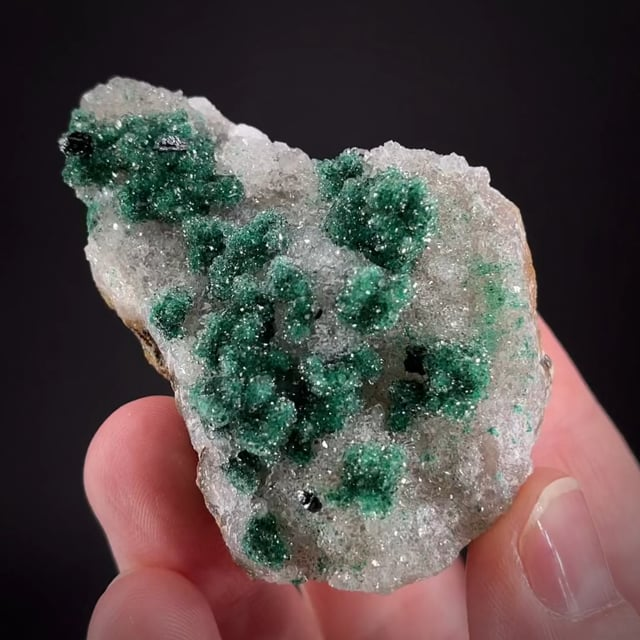 Clinoatacamite with Malachite on Quartz