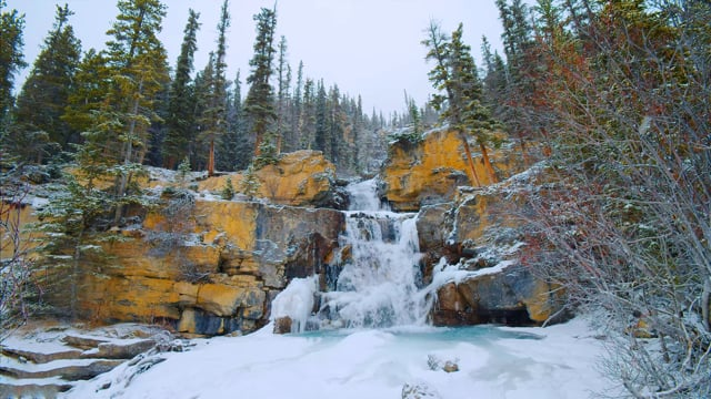 Winter Charm of Tangle Creek Falls, Canada - Relax Video 4K HDR