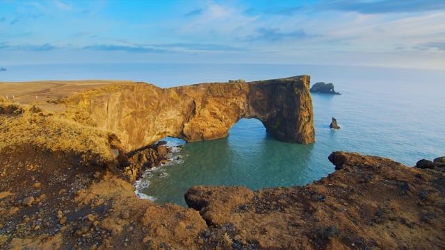 Fascinating Views of Dyrholaey Arch. Iceland - HDR Relax Video